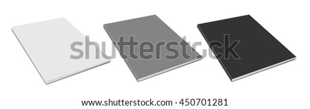 Blank magazine cover 3D rendering. On white background. - stock photo