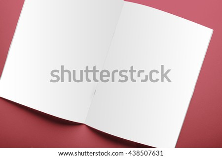 Blank magazine cover template isolated on red background with clipping path ready for your artwork - stock photo