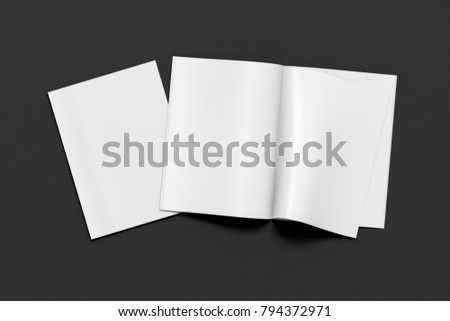 Blank magazine pages with bent glossy paper and blank cover on black background. Open and closed. 3d illustration
