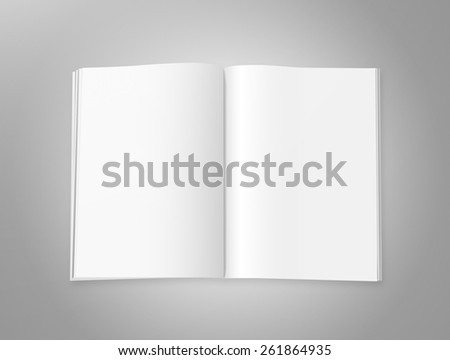 Blank magazine with double spread pages, on a gray background with shadows. - stock photo
