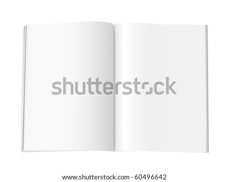 Blank magazine with double spread pages, on a white background with shadows. With clipping path included. - stock photo