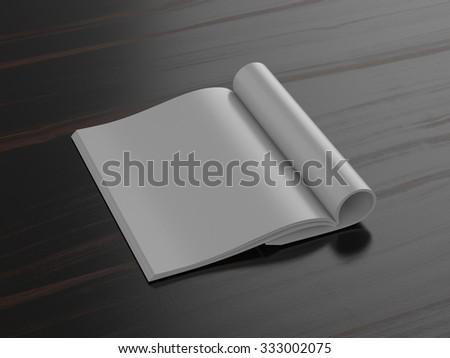Blank Magazzine on dark background with soft shadows, mock up - stock photo