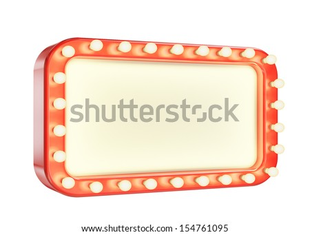 blank marque red frame with light bulbs isolated on white background - stock photo