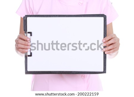 Blank medical clipboard with nurse isolated on white background - stock photo