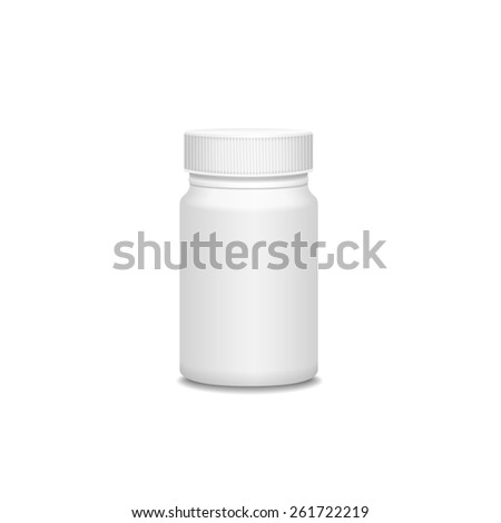 Blank medicine bottle isolated on white background, illustration. - stock photo