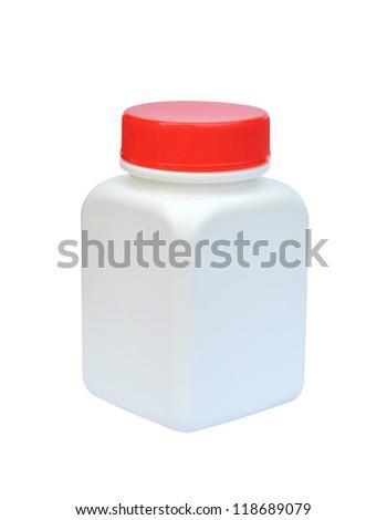 Blank medicine bottle on white background - stock photo