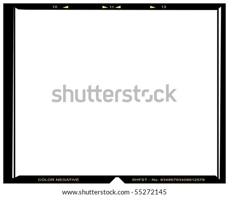 Blank medium format color negative picture frame,with free copy space, isolated on white background, - stock photo