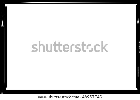 Blank medium format negative picture frame,with free copy space, isolated on white background, - stock photo