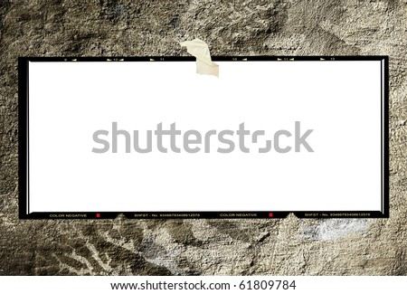 Blank medium format panorama  negative picture frame,with free copy space, on grungy background - stock photo