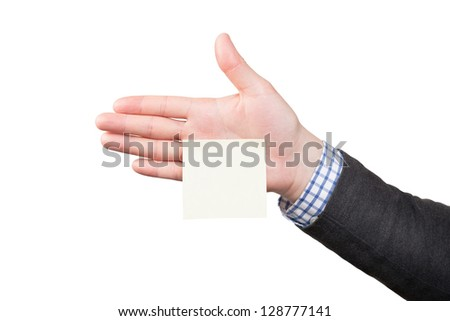 Blank memo note sticked to male hand - stock photo