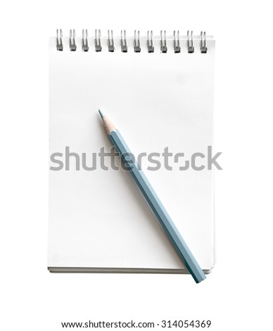 Blank memo notebook with pencil isolate on white (clipping path) - stock photo