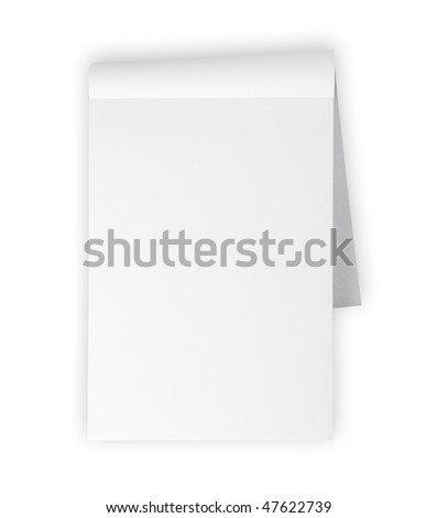 Blank memo pad isolated on white - stock photo