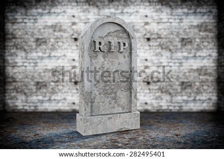 Blank Memorial Gravestone on grunge background - stock photo