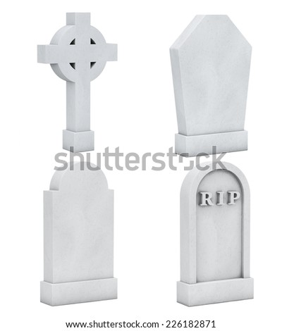 Blank Memorial Gravestone Set on a white background - stock photo