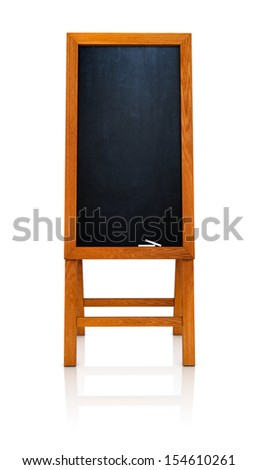 Blank menu board wooden frame front view. Isolate on white background - stock photo