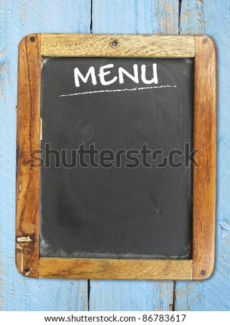 blank menu on blackboard, free copy space - stock photo
