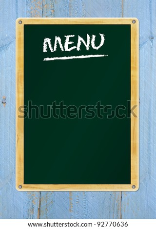 blank menu on blackboard, free copy space - stock photo