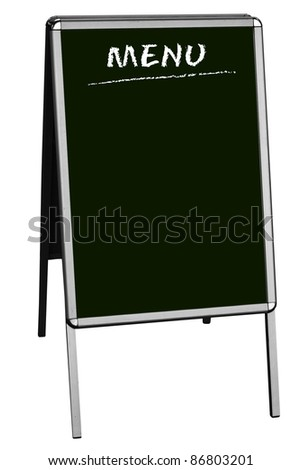 blank menu on sandwich board, isolated on white background, free copy space - stock photo