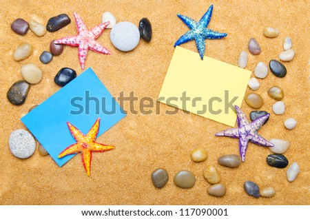 Blank message on sand and pebbles