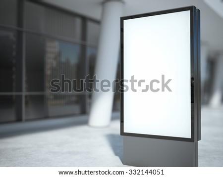 Blank metal advertising stand. 3d rendering - stock photo