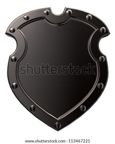 blank metal shield on white background - 3d illustration - stock photo