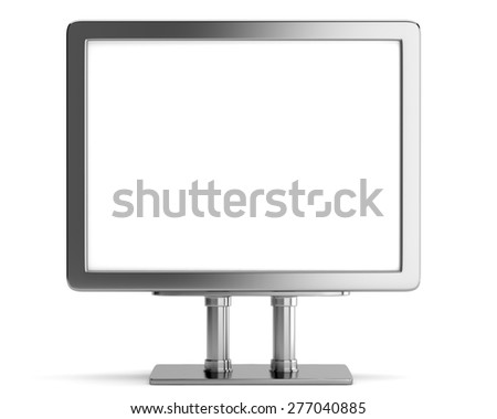 Blank metallic billboard isolated on white background. 3d render - stock photo