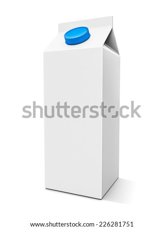 Blank milk box on the white background