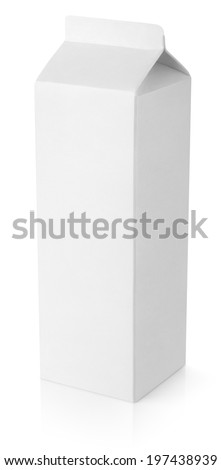Blank milk carton package isolated on white background with clipping path