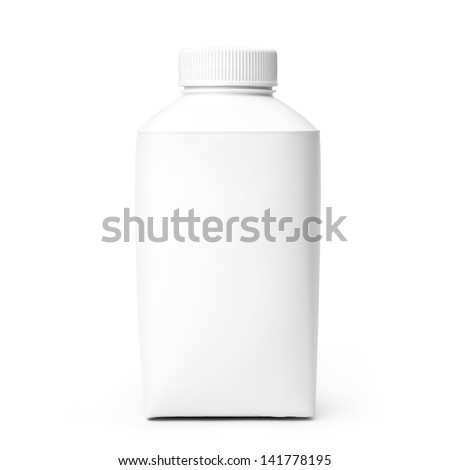 Blank Milk or Juice Pack isolated on white background. Studio shot with clipping path. Front view - stock photo