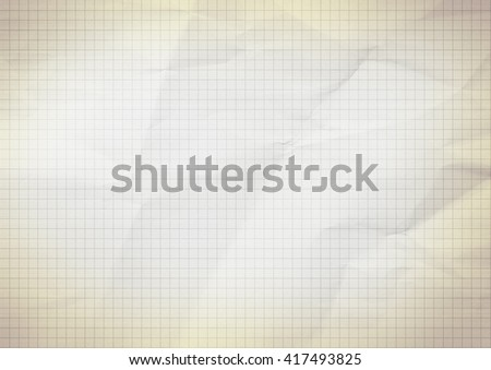 Blank millimeter old crumpled yellow gold paper grid sheet background or textured - stock photo