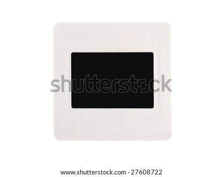Blank 35 mm  black transparency with white border isolated on white - stock photo