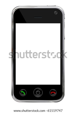 Blank mobile, smart phone isolated on white background with clipping path for the screen