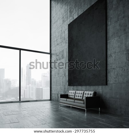 Blank mockup of black poster. 3d render - stock photo