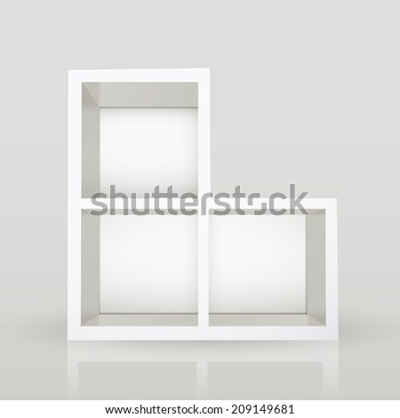 blank modern bookcase isolated over grey background - stock photo