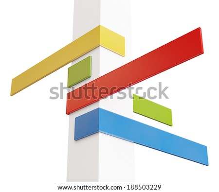 blank modern colorful signpost info graphic isolated on white background - stock photo