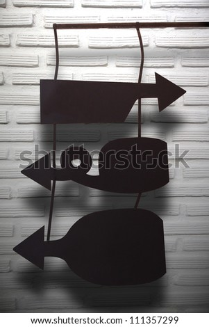 Blank modern hanging sign with space text with white brick wall - stock photo