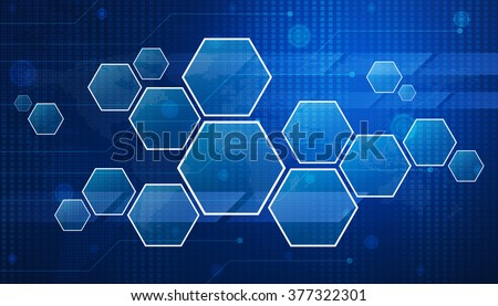Blank modern virtual technology screen on digital map, Elements of this image furnished by NASA - stock photo
