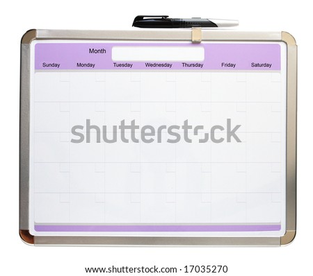 Blank monthly calendar and pen isolated on white background - stock photo