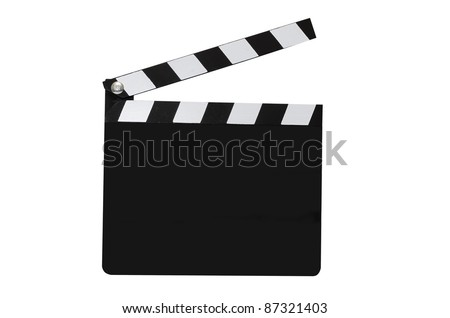 Blank movie clapboard isolated on white background with clipping path. - stock photo