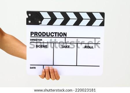 Blank movie clapper board, slate film. - stock photo