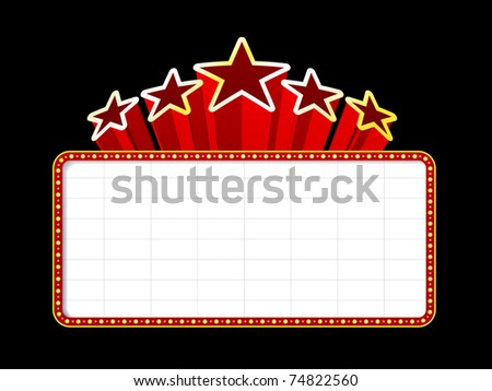 Blank movie, theater or casino marquee with stars isolated on black background - stock photo