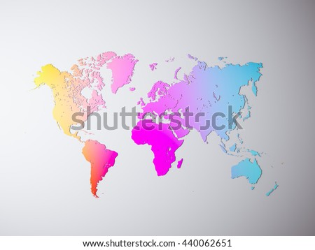 Blank Multicolor Concrete Texture Political World Map. 3D rendering. Empty wall background. High textured row materials. Mockup ready for business information. Horizontal - stock photo