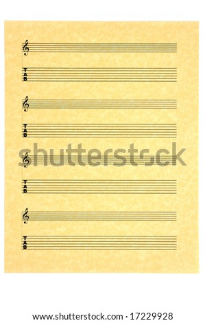 Blank Music Sheet for guitar (tabs)  with treble  clef on parchment paper for your composition. Isolated. - stock photo