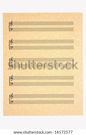 Blank Music Sheet with 5 staves of treble and bass clefs on parchment paper for your composing! Isolated. - stock photo