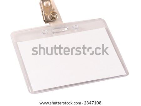Blank name badge in a plastic protector isolated on white. - stock photo
