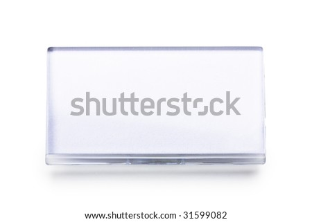 blank name tag isolated on white - stock photo