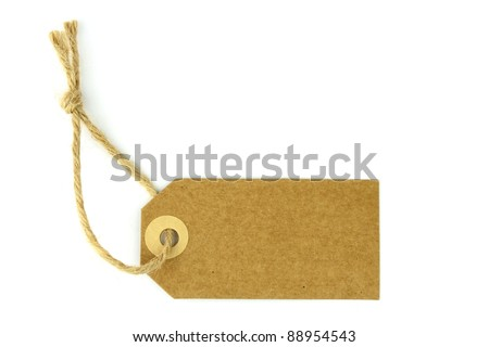 Blank natural label on white background - stock photo