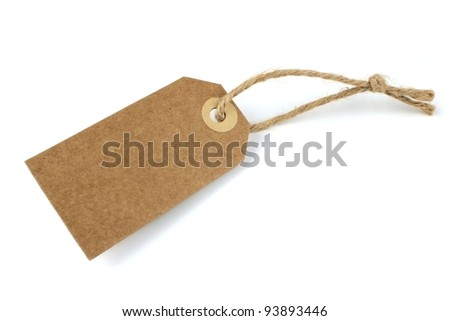 Blank natural paper label - stock photo