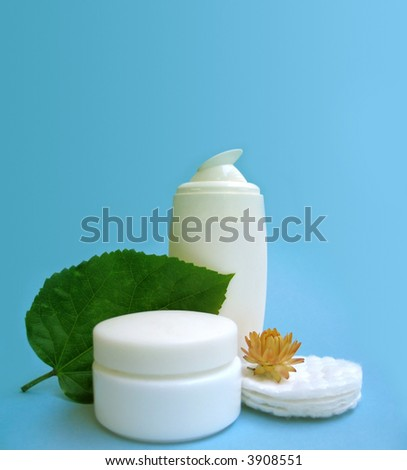 Blank natural skin care and beauty elements with green leaf