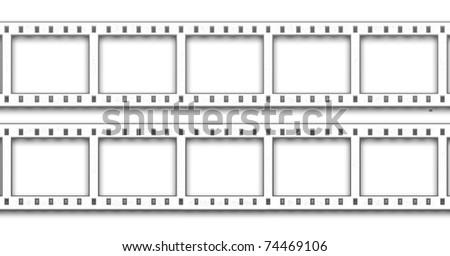 Blank negative film isolated on white - stock photo